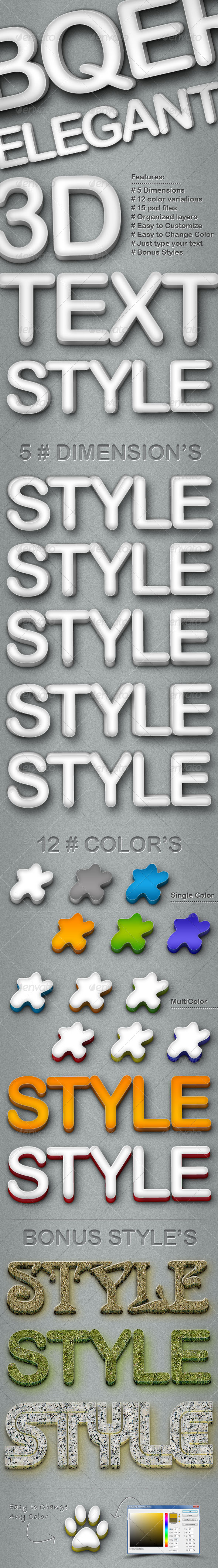 GraphicRiver Elegant 3D Text Style 5 Dimensions 243501