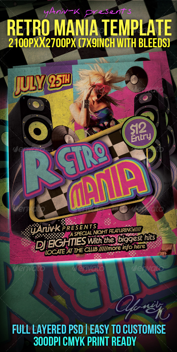Retro Mania Flyer Template  - Flyers Print Templates