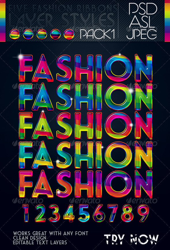 5 Fashion Ribbons Layer Styles - Text Effects Styles
