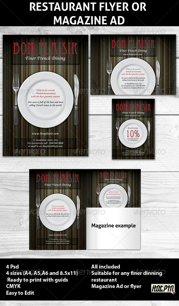 Restaurant Magazine Ads or Flyer Template - Restaurant Flyers