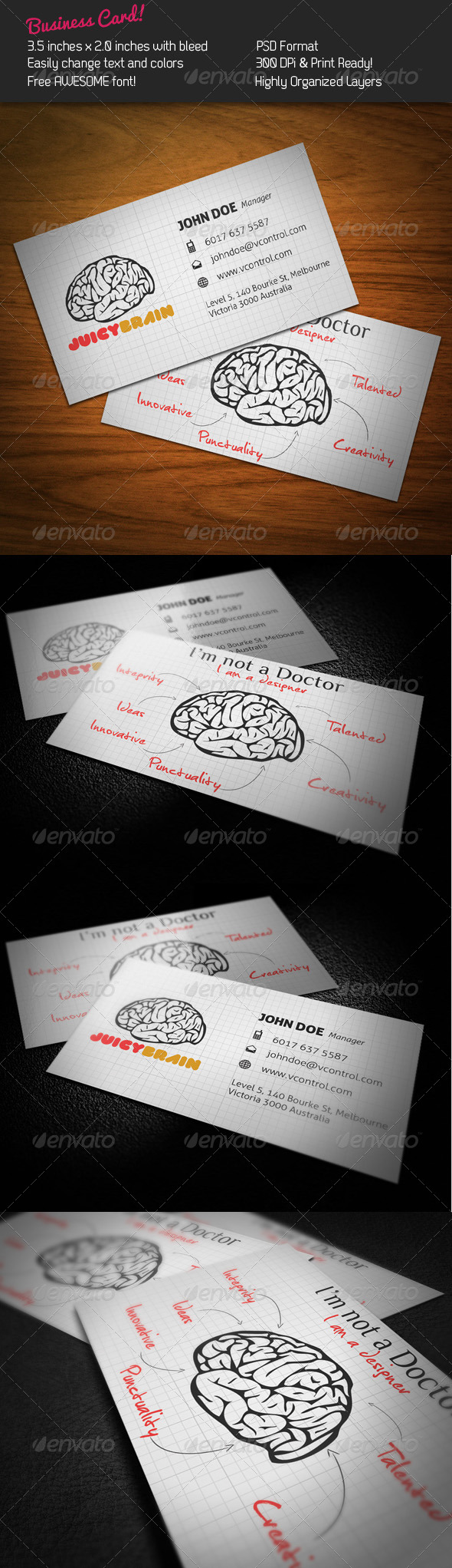 Juicy Brain Business Card - Creative Business Cards