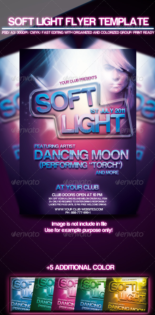 Soft Light Flyer Template - Clubs & Parties Events