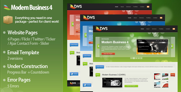 Modern Business 4 XHTML / CSS + Bonuses! - Creative Site Templates