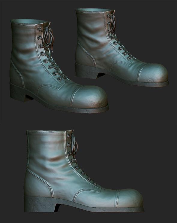 3DOcean Boots with laces sculpt 81181