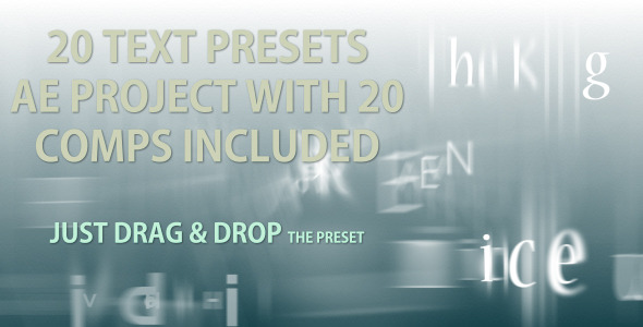After Effects Project - VideoHive Text Presets 20 text animation presets 2034652