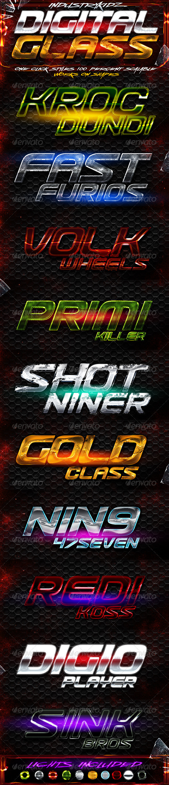 Digital Glass Photoshop Styles - Text Effects Styles