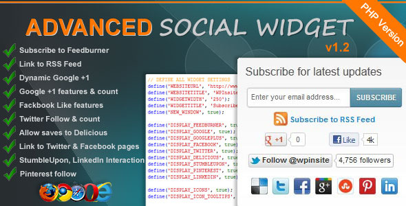 CodeCanyon Advanced Social Widget 1329478