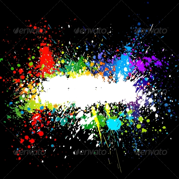 Color paint splashes. Gradient vector background - Backgrounds Decorative