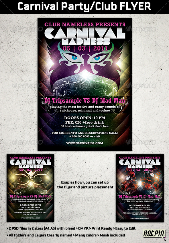 carnival party club flyer template 162212 print template flyers ...