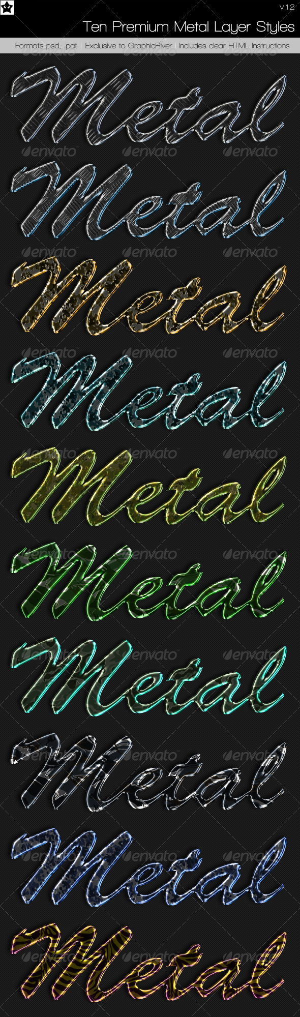 10 Premium Metal Layer Styles - Text Effects Styles
