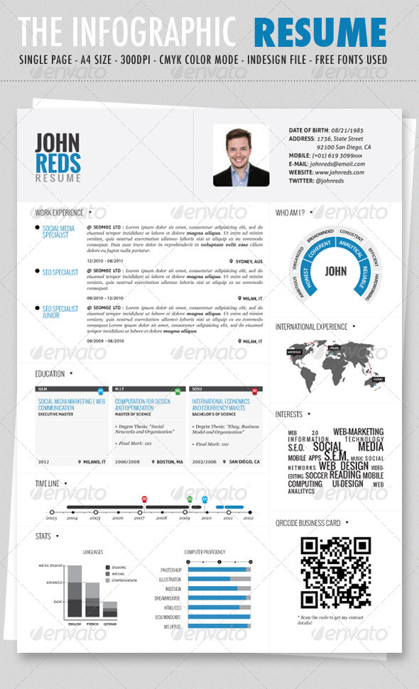 Clean Infographic Resume - Resumes Stationery