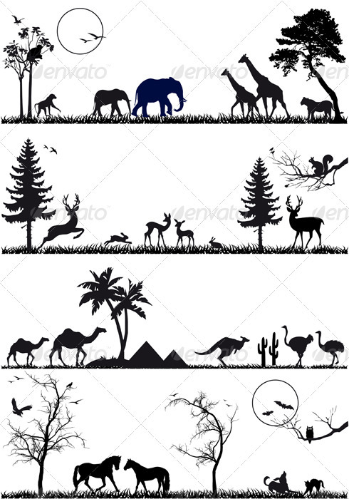 Animal Background Set, Vector - Nature Conceptual