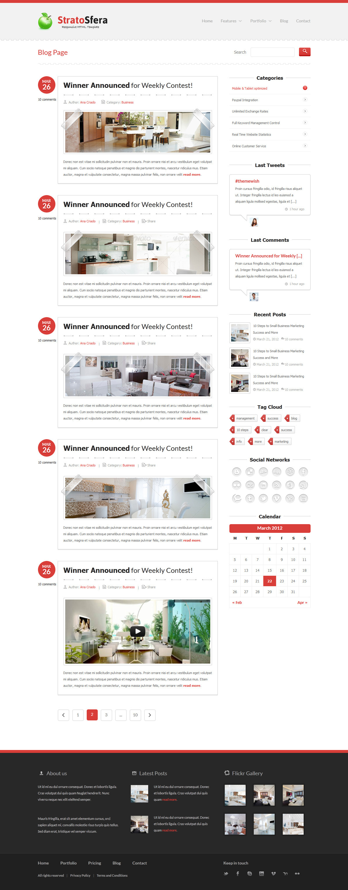 StratoSfera - Responsive Template - Header includes: