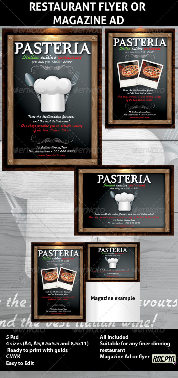 Restaurant Magazine Ads or Flyers 6 - Restaurant Flyers