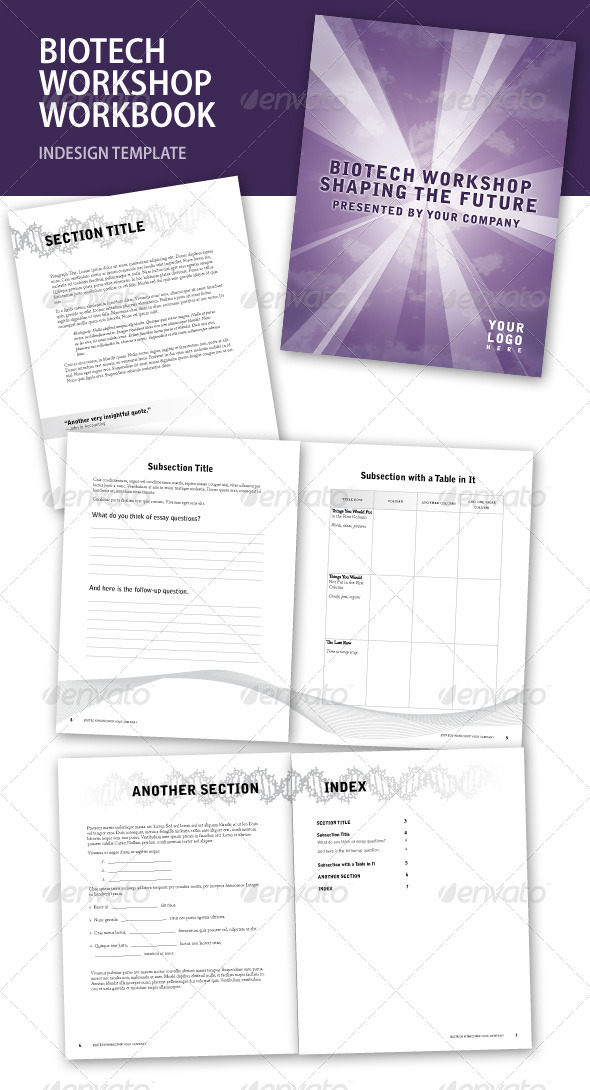 GraphicRiver Biotech Workshop InDesign Workbook 246331