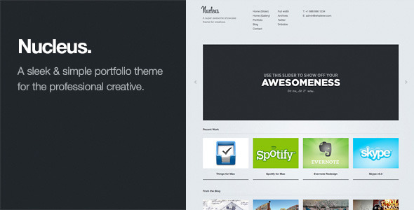 Nucleus: Sleek WordPress Portfolio Theme