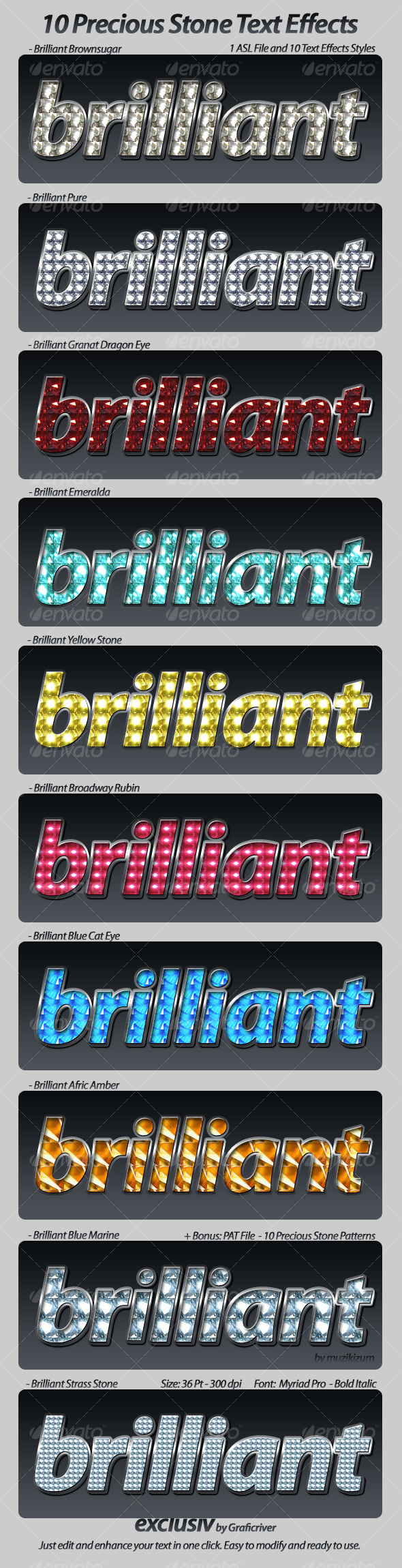 GraphicRiver Brilliant Stone Text Effects Styles 82318