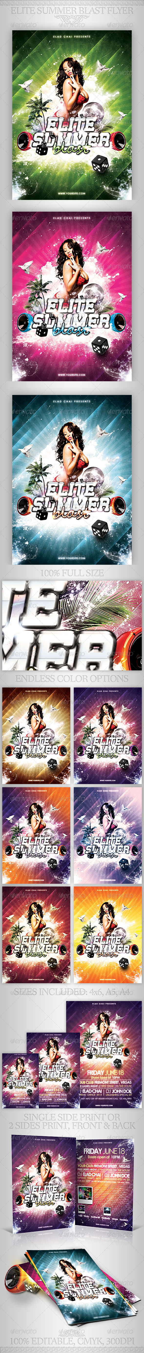 Elite Summer Blast Flyer Template - Clubs & Parties Events