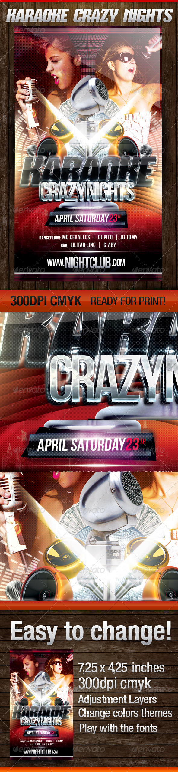 Karaoke Crazy Nights - Flyers Print Templates