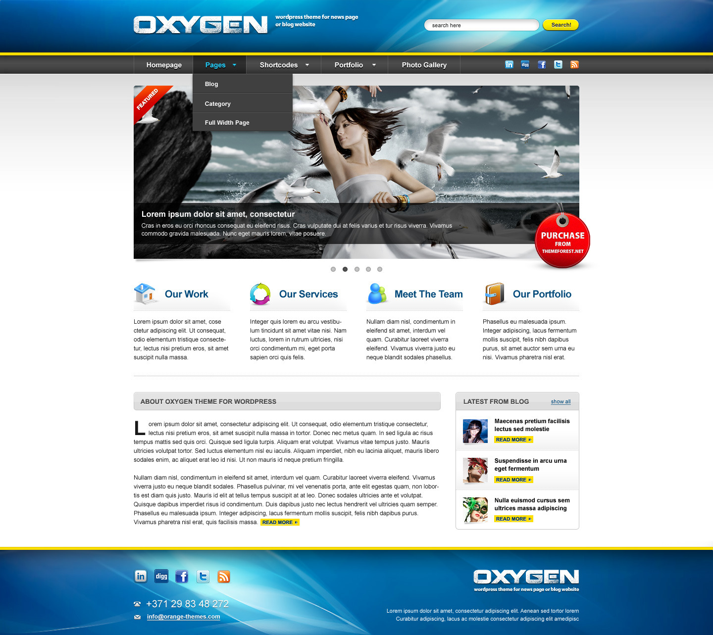 Oxygen - Premium Portfolio, Business  HTML Version