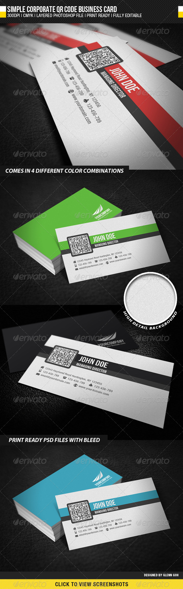 Simple Corporate QR Code Business Card - Business Cards Print Templates