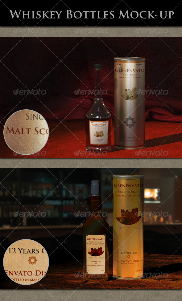 GraphicRiver Whiskey Bottles Mock-up 2203028