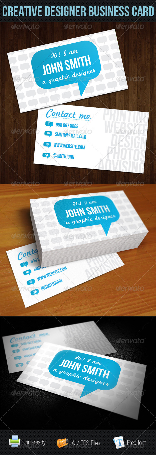 GraphicRiver Blue Talk Bubble Creative Designer Business Card 249641