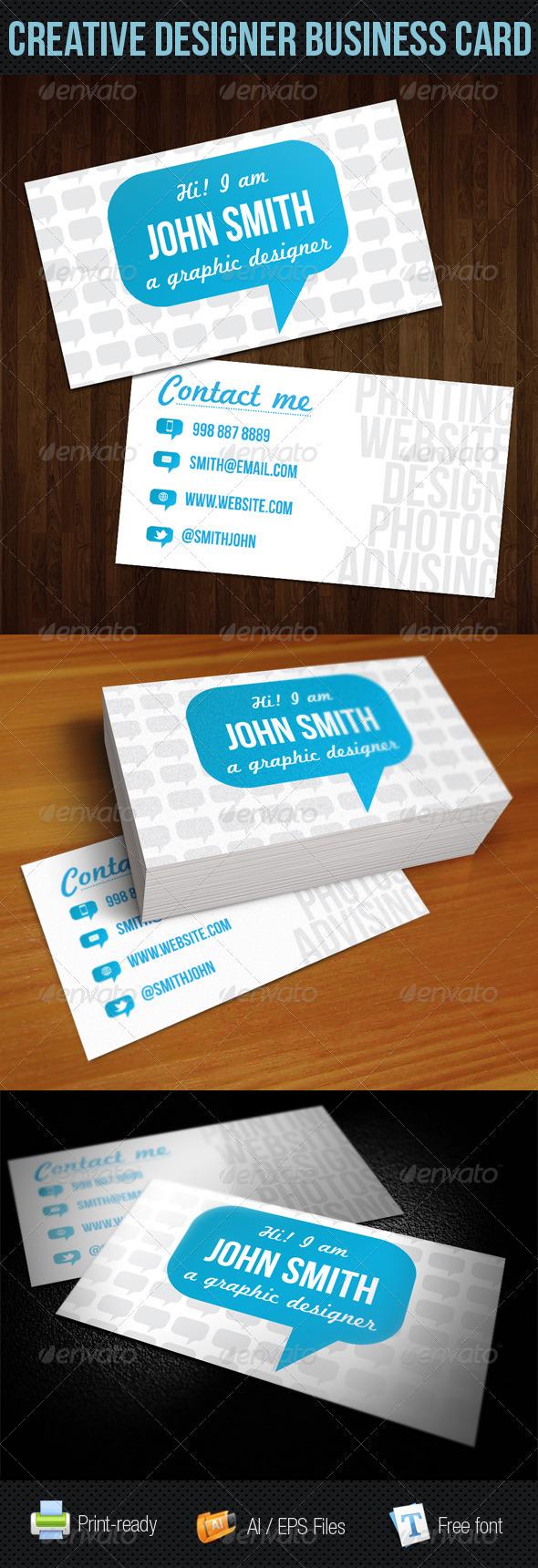 GraphicRiver Blue Talk Bubble Creative Designer Business Card 249641