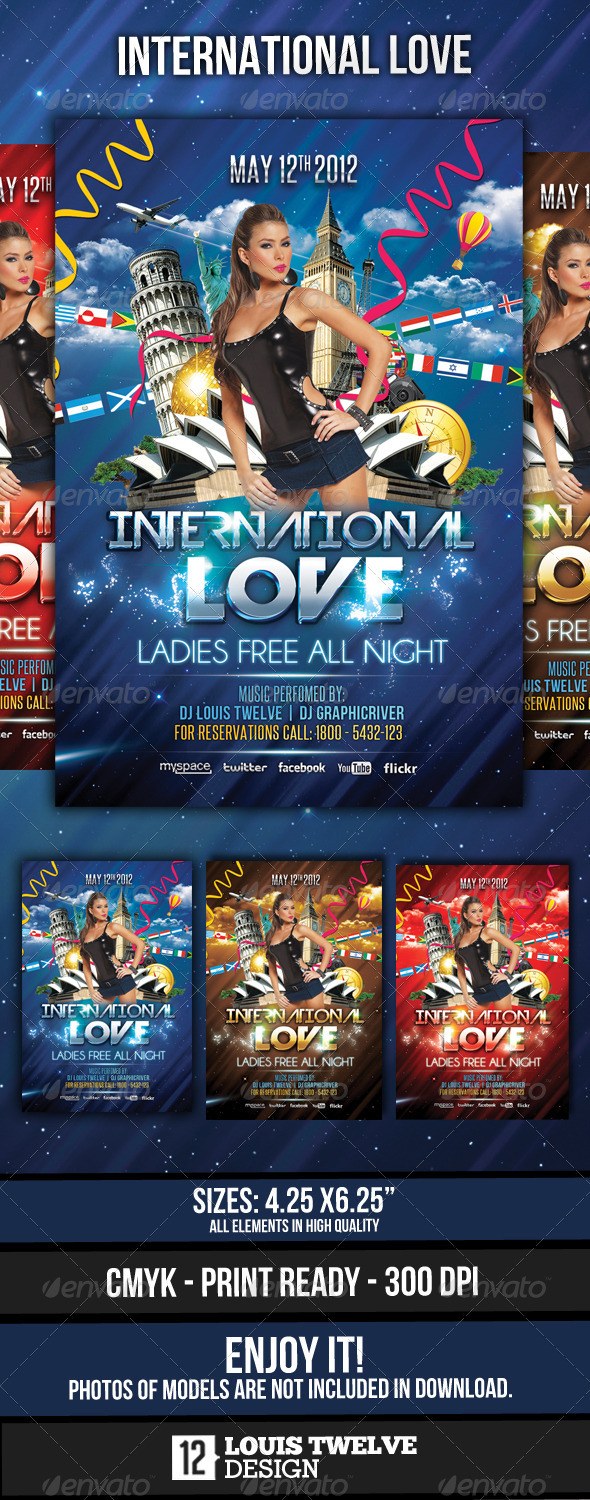 International Love - Flyer Template - Clubs & Parties Events