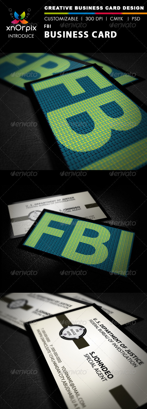 FBI Business Card - Business Cards Print Templates