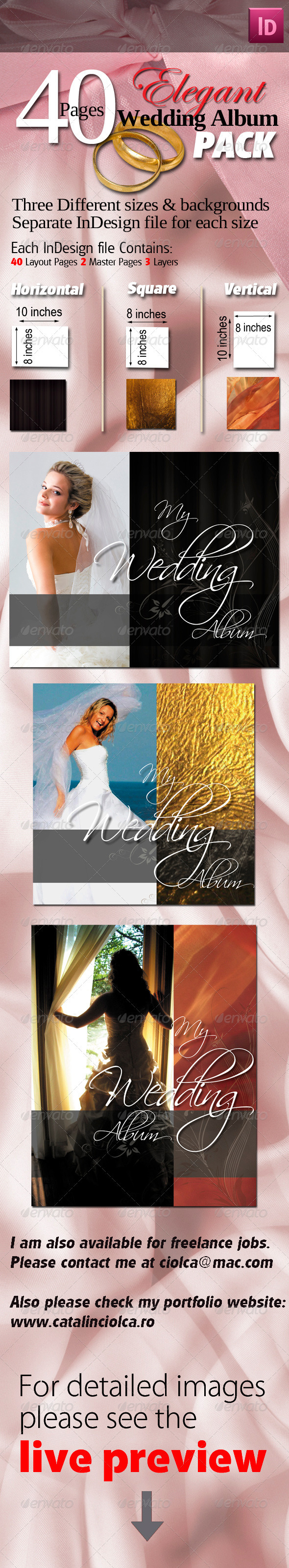 40 Pages Elegant Wedding Albums Pack - Miscellaneous Print Templates