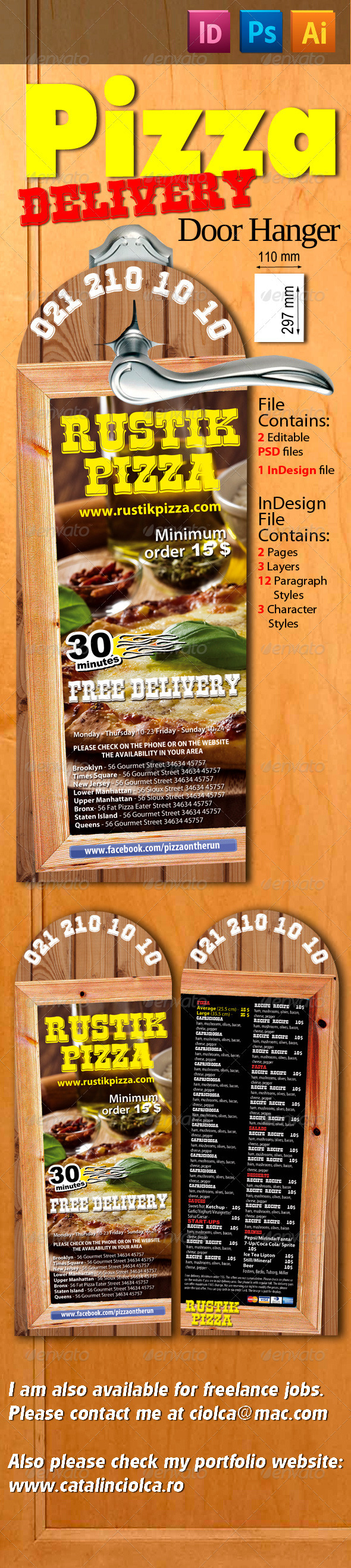 Pizza Delivery Door Hanger - Restaurant Flyers