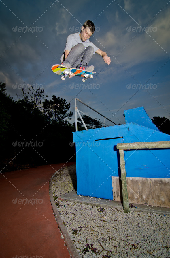Skateboarder flying - Stock Photo - Images