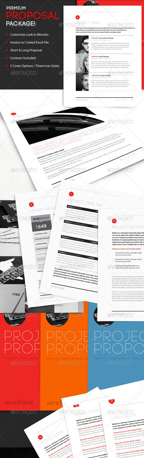 Wireframe: Proposal Template w/ Invoice & Contract - Proposals & Invoices Stationery