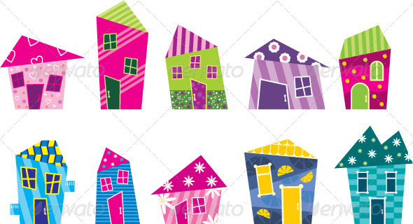 Set of the bright, painted cartoon houses - Buildings Objects