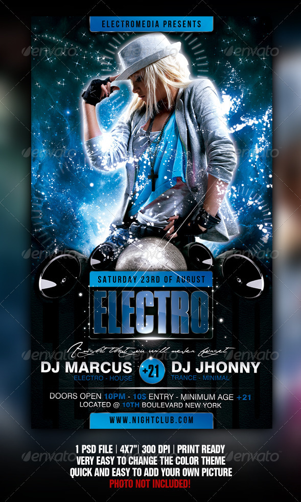 Electro Party Flyer - Flyers Print Templates