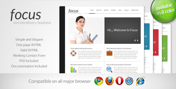 ThemeForest Focus Simple One Page Template 2 236868