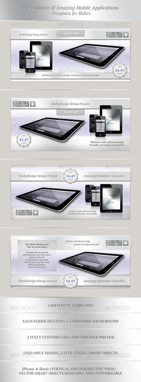 Presentation of Amazing Mobile Applications - Sliders & Features Web Elements