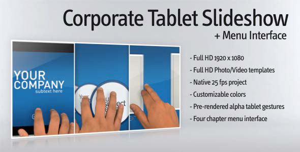 After Effects Project - VideoHive Corporate tablet slideshow and menu inter ...