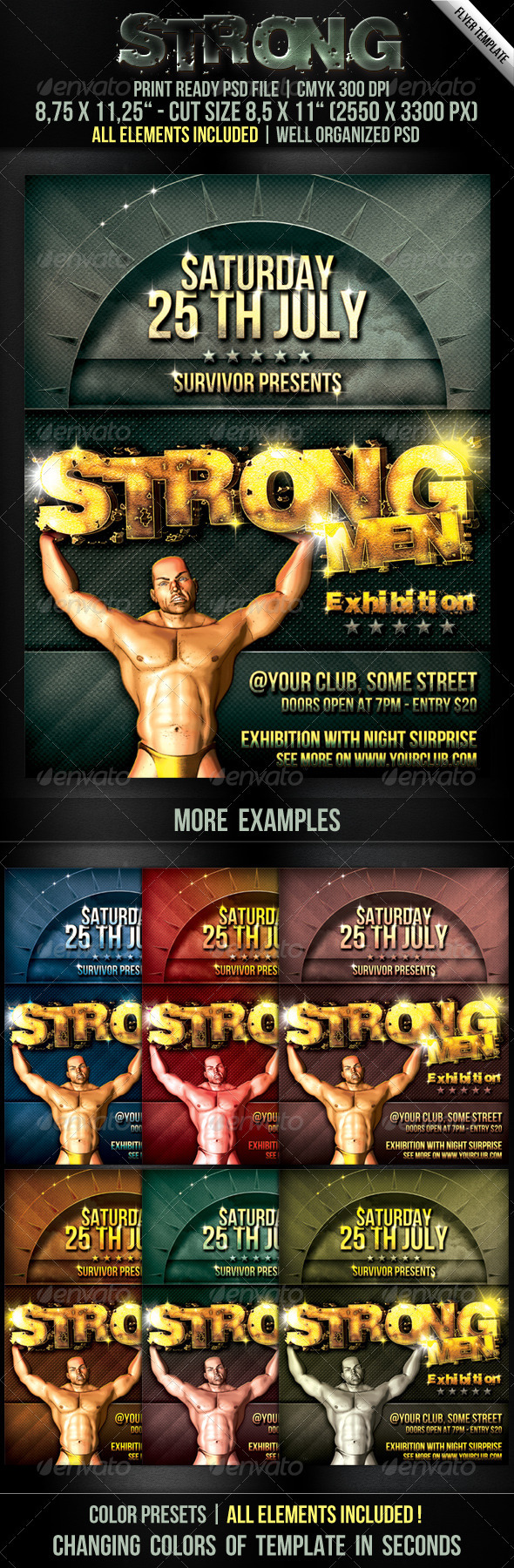 Strong Men Flyer Template - Clubs & Parties Events