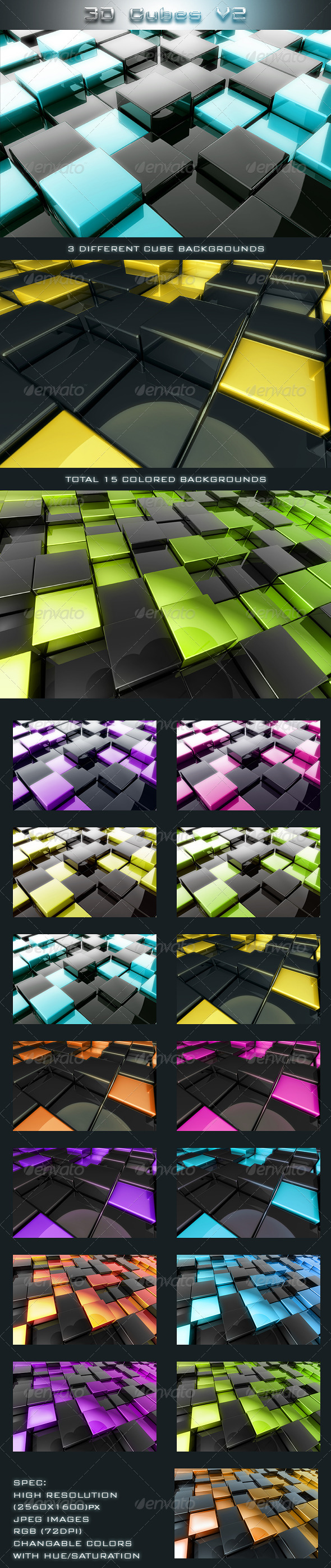 3D Cubes V2 - 3D Backgrounds
