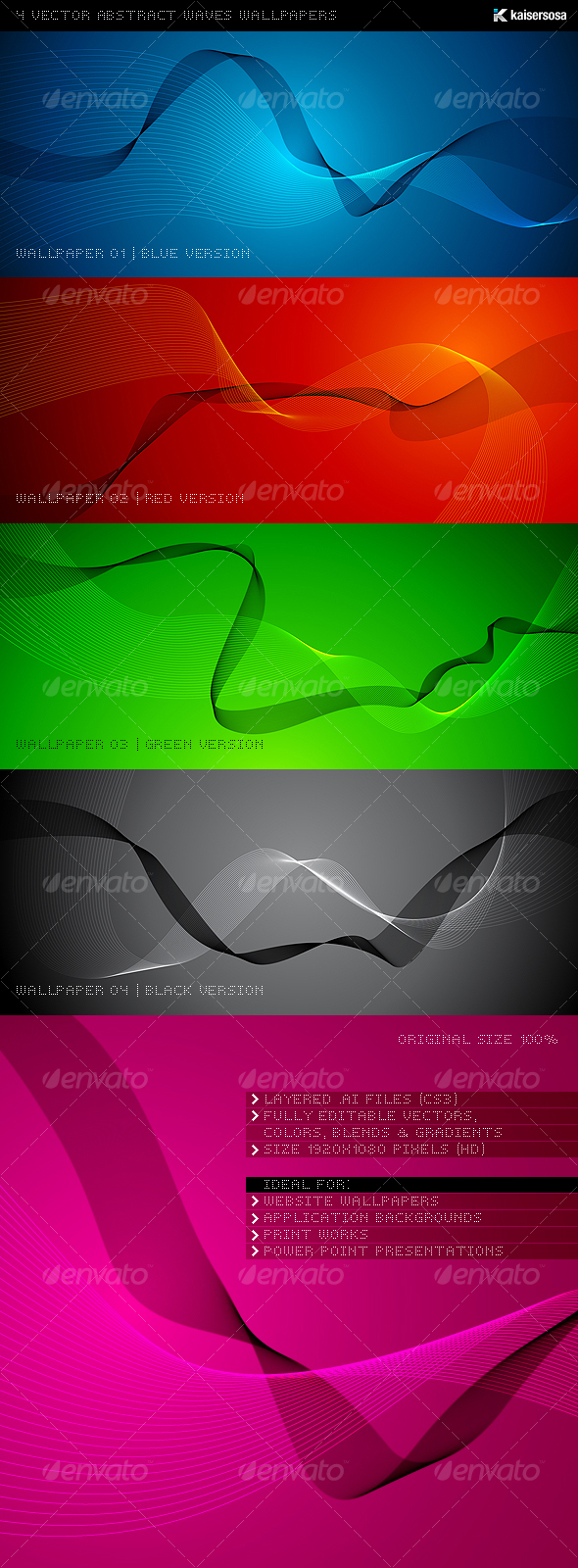 4 Vector Abstract Waves Wallpapers - Abstract Backgrounds