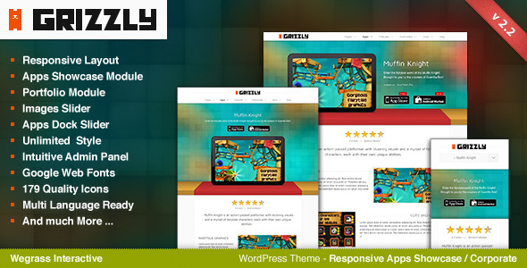Grizzly - Responsive App Showcase / Corporate - Theme features and screenshots.
