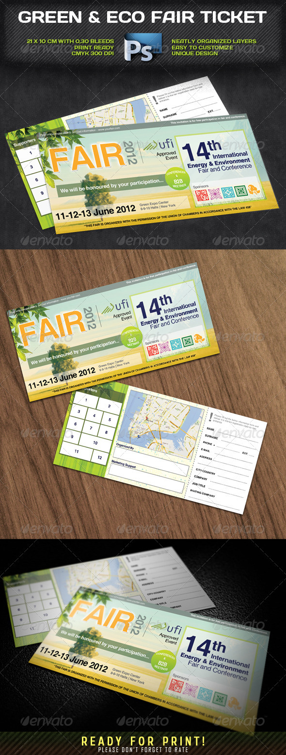 Green & Eco Fair Ticket - Invitations Cards & Invites