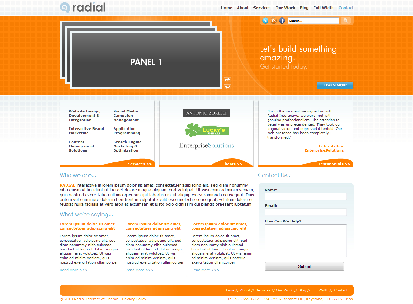 Radial (HTML) Business / Corporate Portfolio Theme