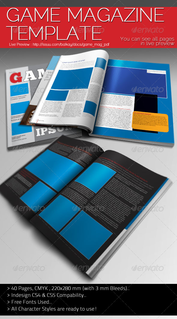 Graphic River Game Magazine Template Print Templates -  Magazines 891181