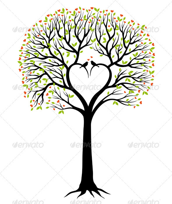 Love Tree With Heart And Birds, Vector - Flowers & Plants Nature