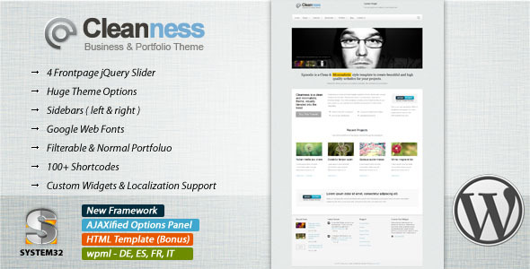 Cleanness - Business & Portfolio Wordpress Theme