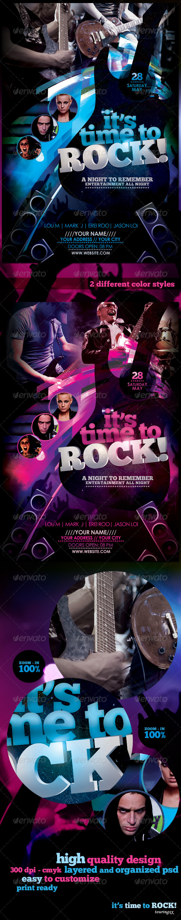 It's Time To Rock! Flyer Template - Clubs & Parties Events