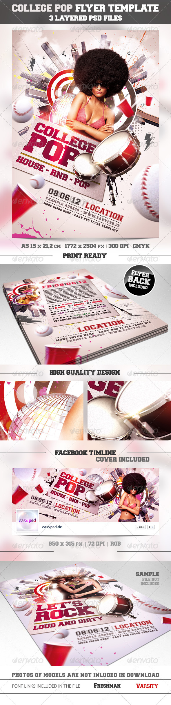 College Pop Flyer Template - Clubs & Parties Events